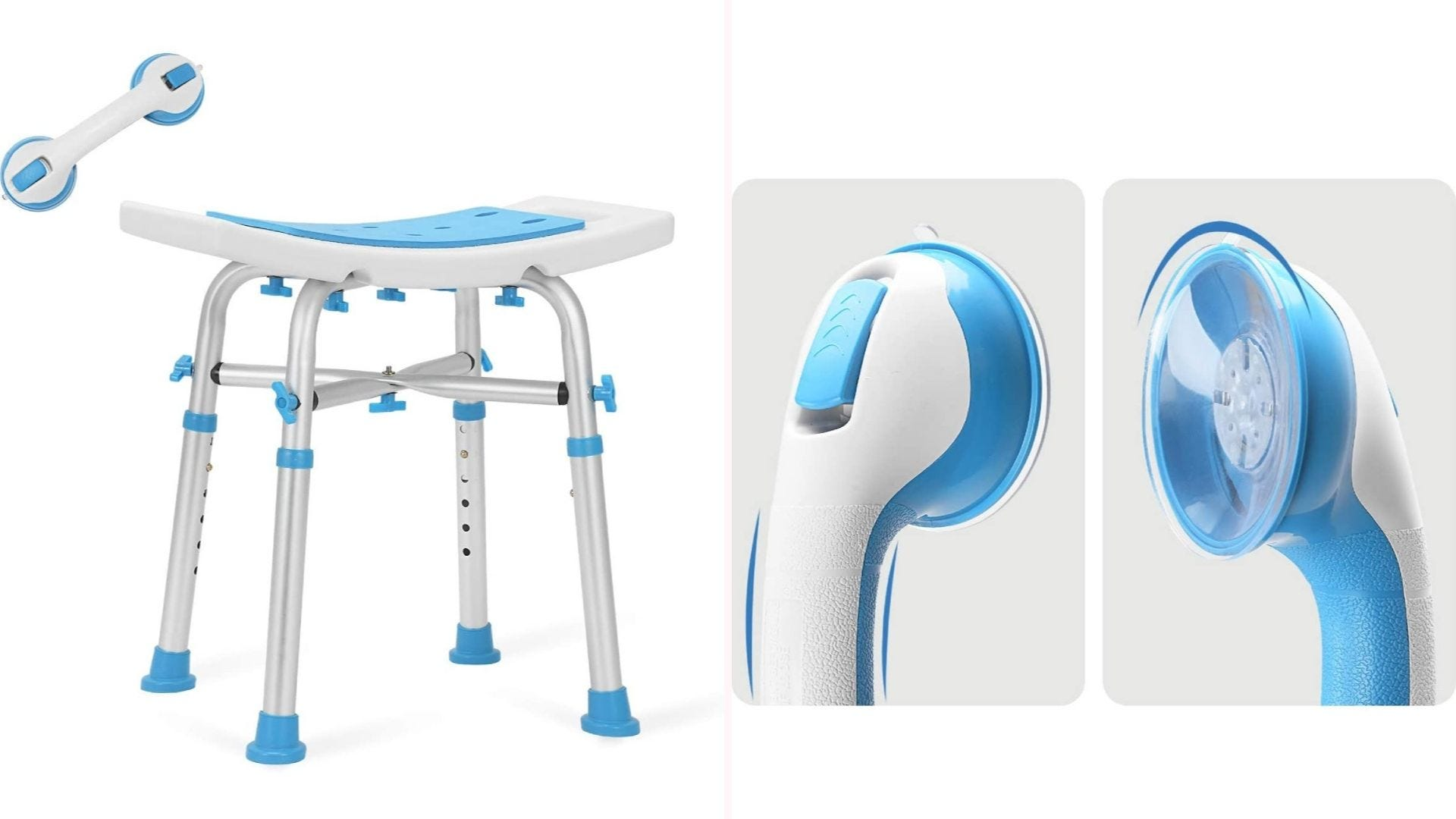 On the left, a white and blue shower stool constructed from plastic and aluminum sits at centerframe, while a white and blue grab bar is off to its left. On the right, a close up of the of the shower bar, which showcases the suction cup sticking-power of its design.