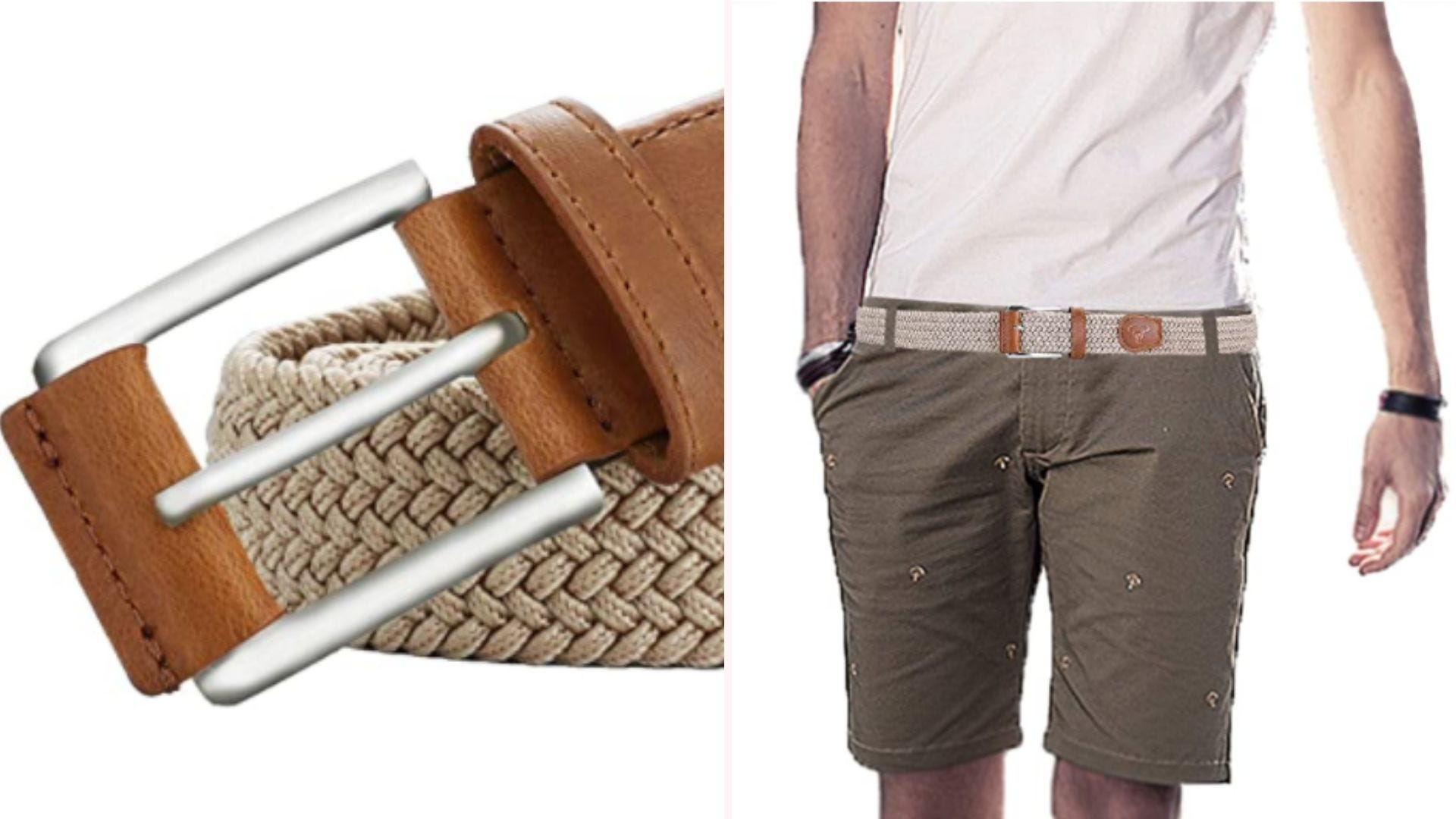 On the left, a closeup view of a silver belt buckle that is attached to a beige-colored belt made from interwoven fabric strips. On the right, a model in a white top and khaki shorts wears the belt.
