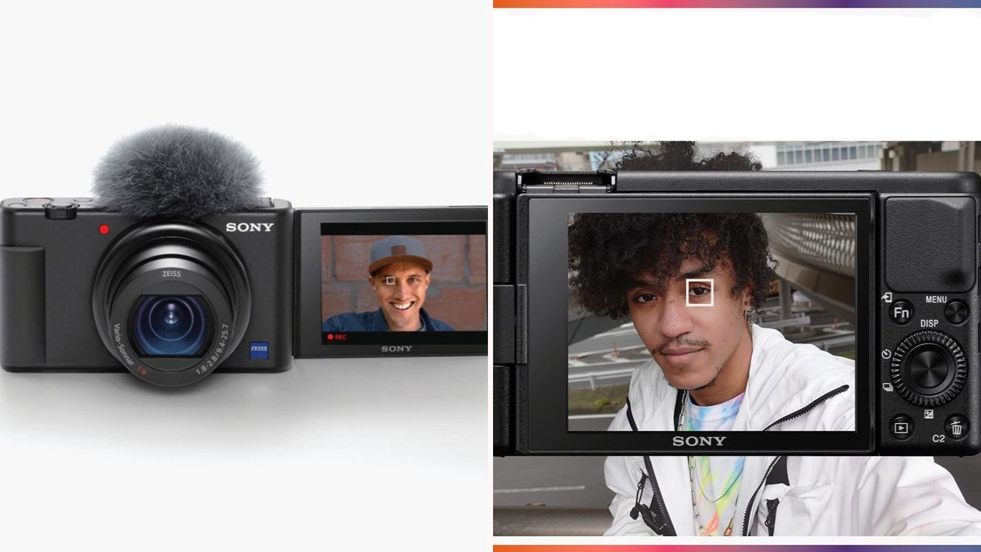 On the left, a black, compact camera with a 24-70mm lens and a three-inch screen. On the right, a user vlogs in front of the camera while its Autofocus setting sticks firmly to the user's eye.