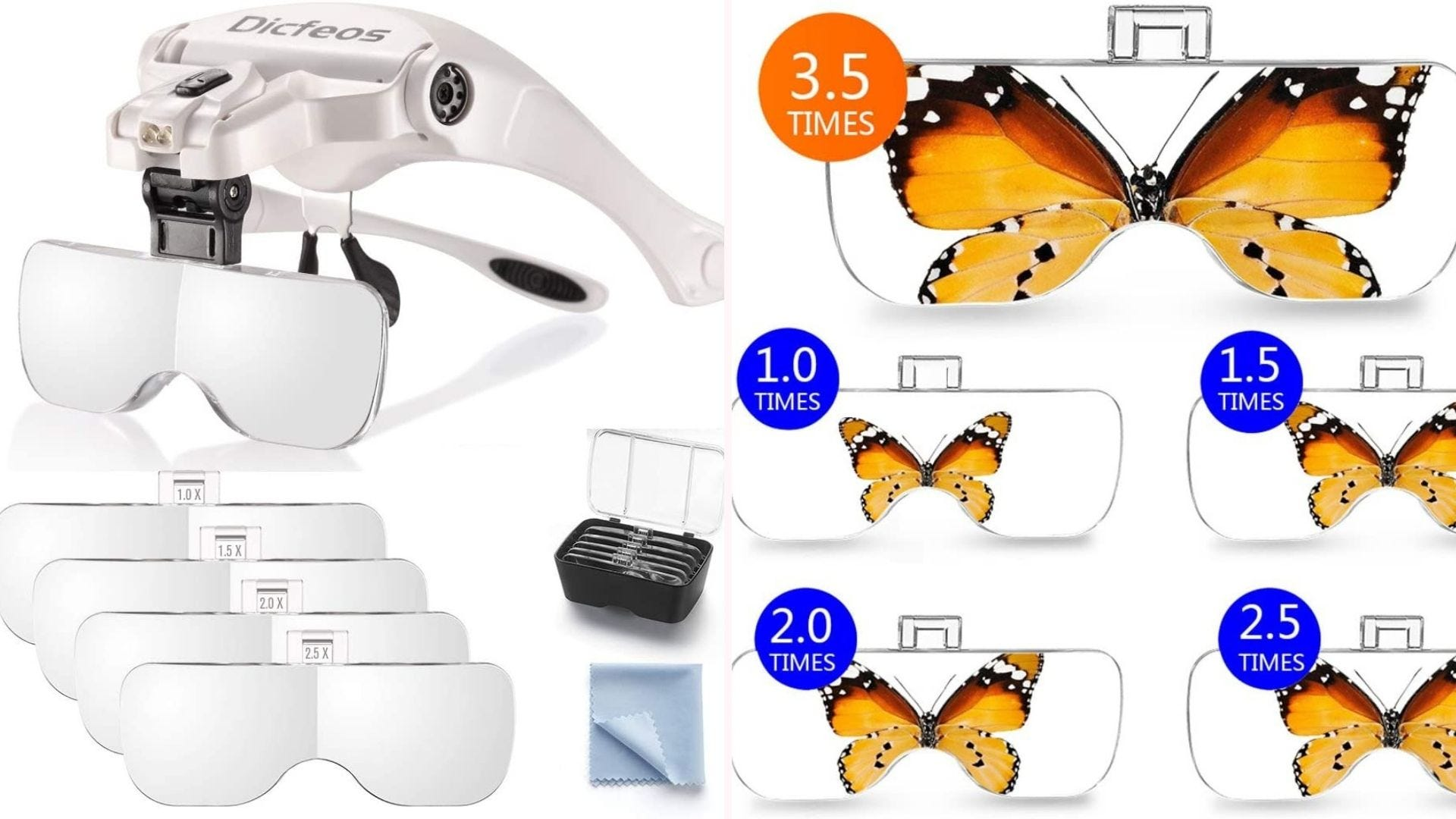 On the left, a pair of magnifying glasses sits above four lenses and a carrying case. On the right, each of the five lenses observes a butterfly in varying magnifications.