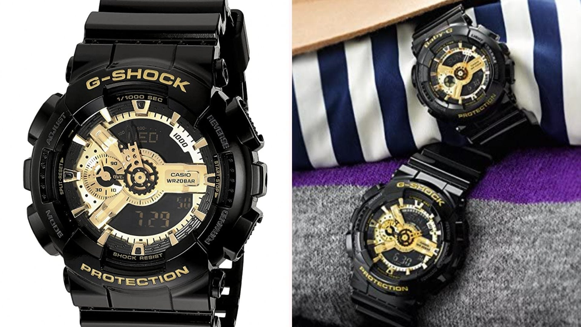 a black digital and analog G-shock watch with gold accents