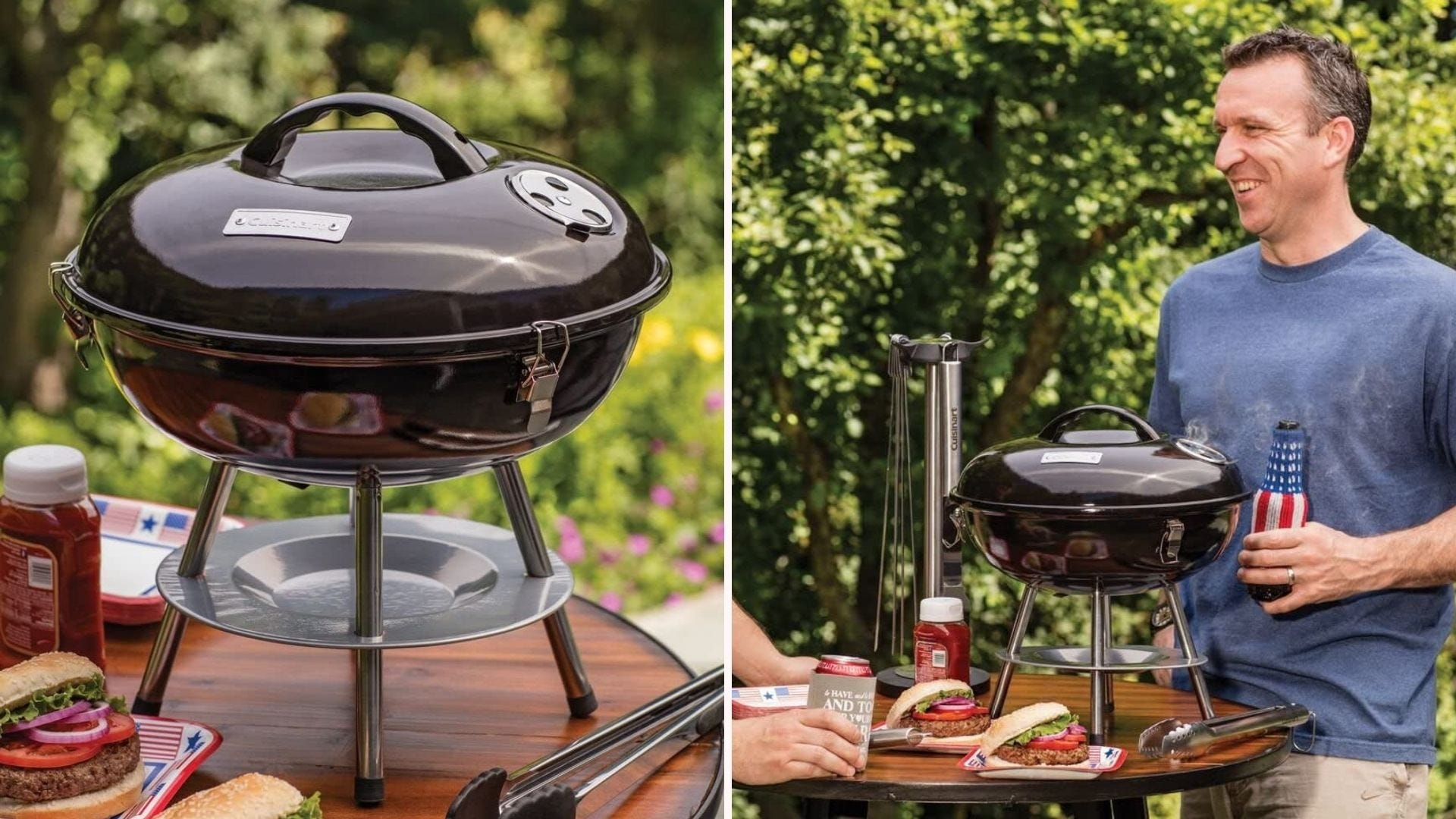 Cuisinart compact portable 14 inch charcoal grill with ash catcher, 150 square inch grate