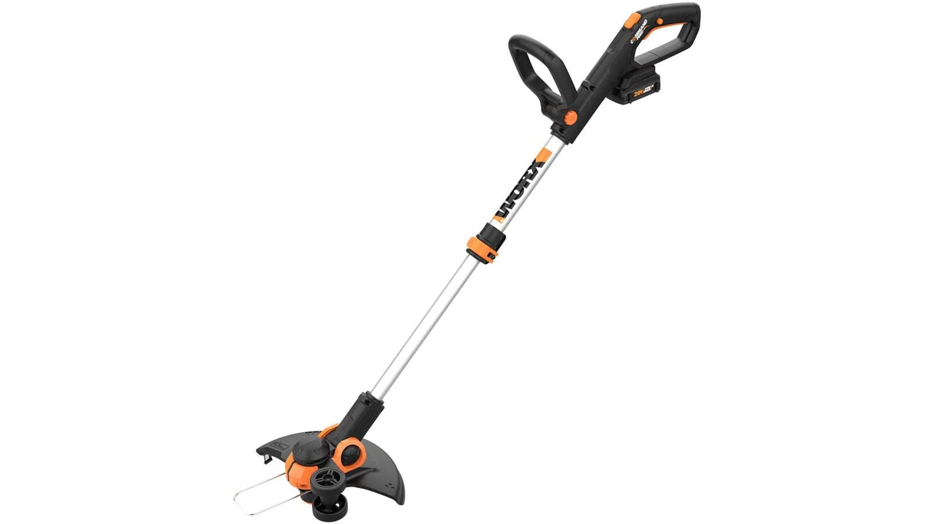 An orange and black trimmer with two handles.
