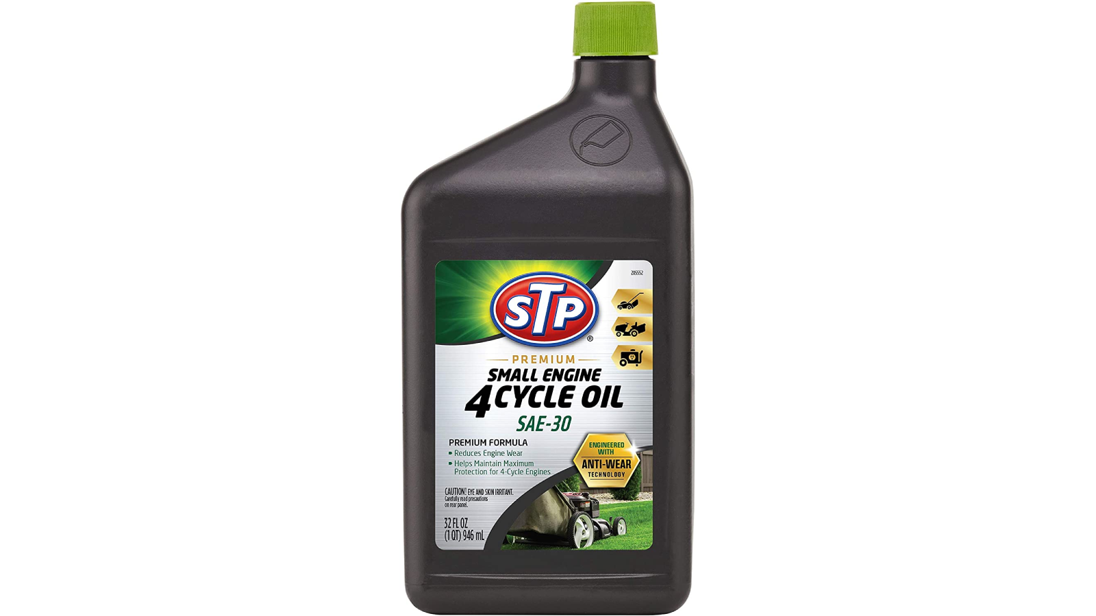 Brown bottle of STP motor oil with a green cap.