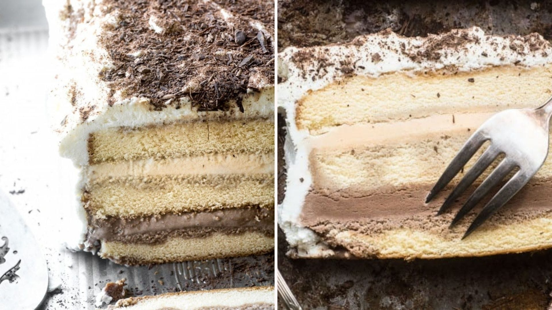 A sliced-open tiramisu ice cream cake; an overhead view of a slice on its side with a fork