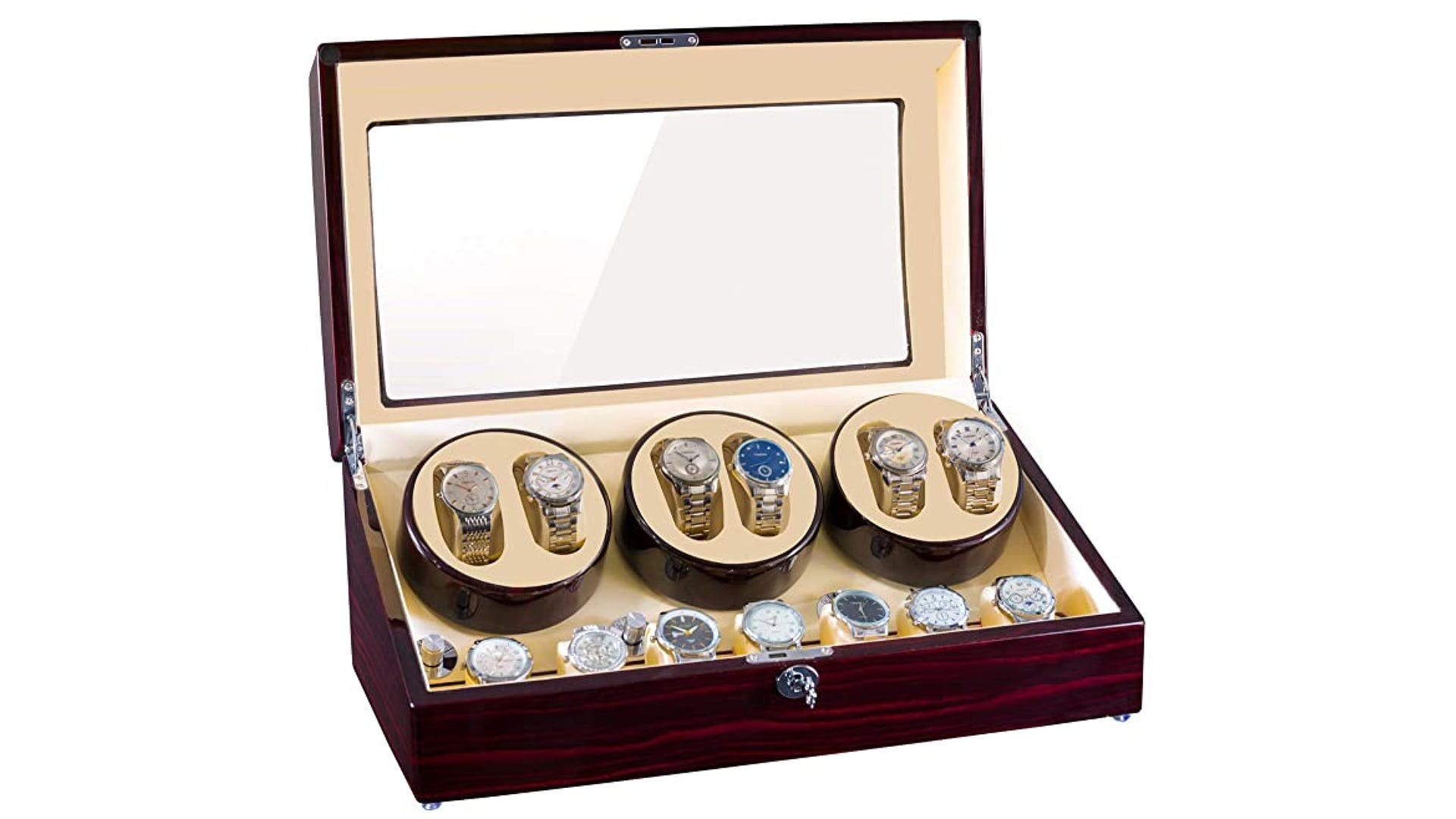 An opened wooden watch winder box that holds multiple watches inside.