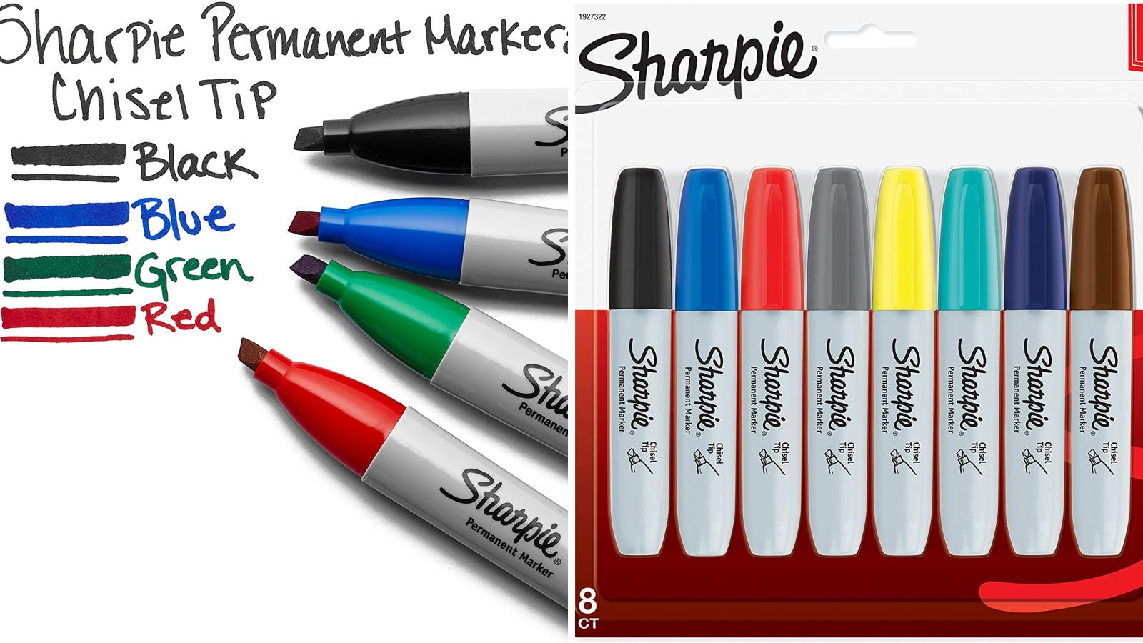 Two images featuring chisel tipped sharpies.