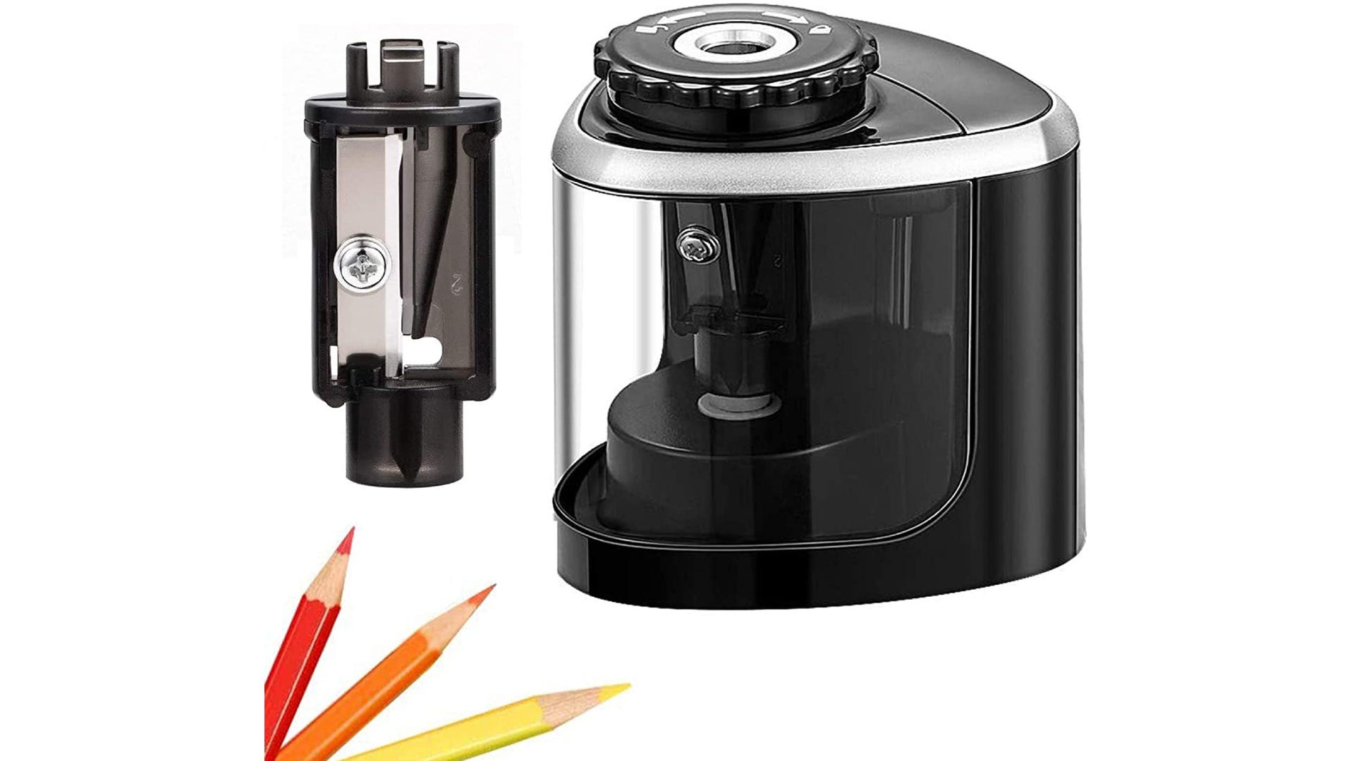 A black pencil sharpener pictured with its blade component and three colored pencils.