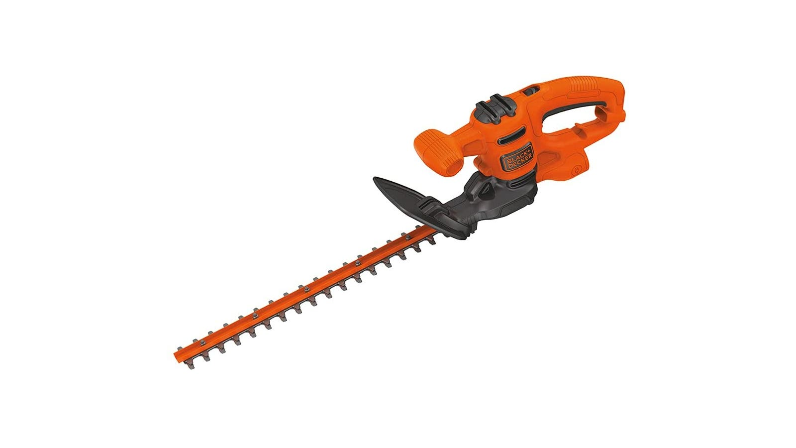 Orange and black electric corded hedge trimmer with 3.2-amp motor and 17-inch dual-action blade