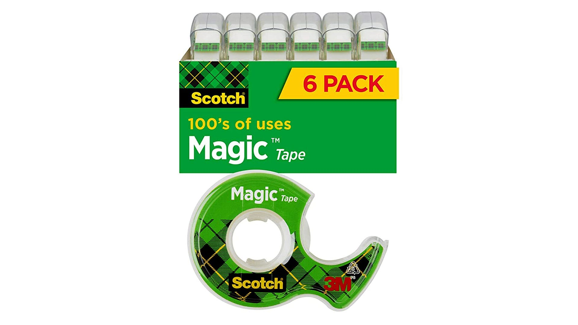 six pack of clear Scotch tape disposable rolls with one displayed in front