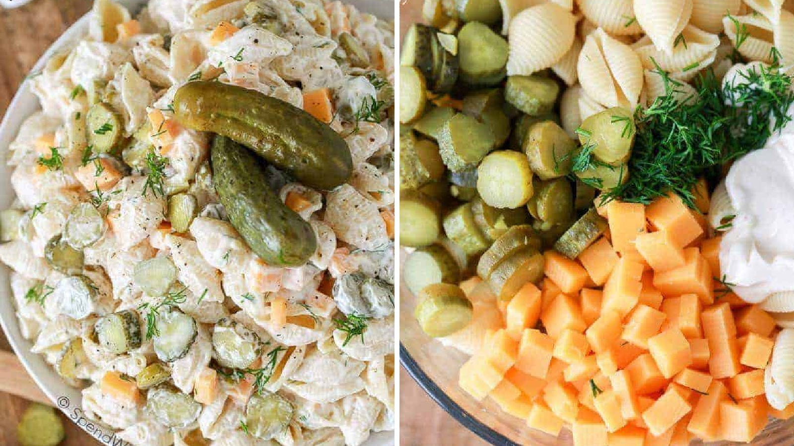Two images displaying pasta salad filled with fresh dill and sliced pickles. The left image is the finished salad, and the right image is a bowl filled with all the ingredients used to make the dish.