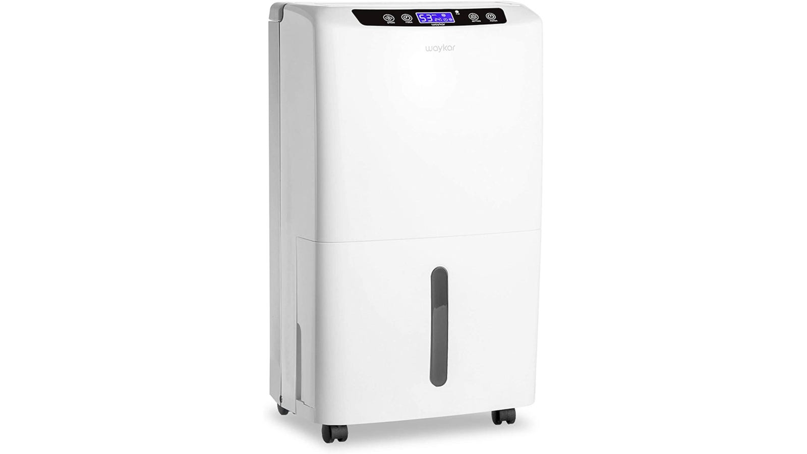 White modern dehumidifier with an LED screen and wheels.