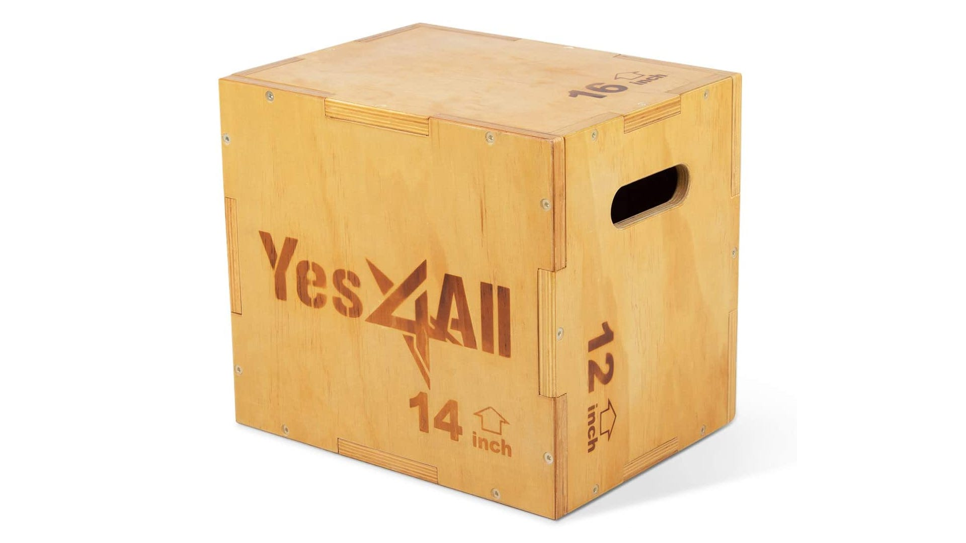 A wooden plyometric box with three different heights and a handle opening.