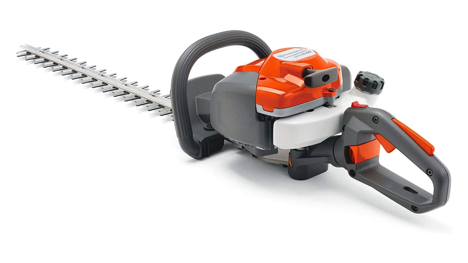 Orange and gray gas-powered hedge trimmer with 23.7-inch blade