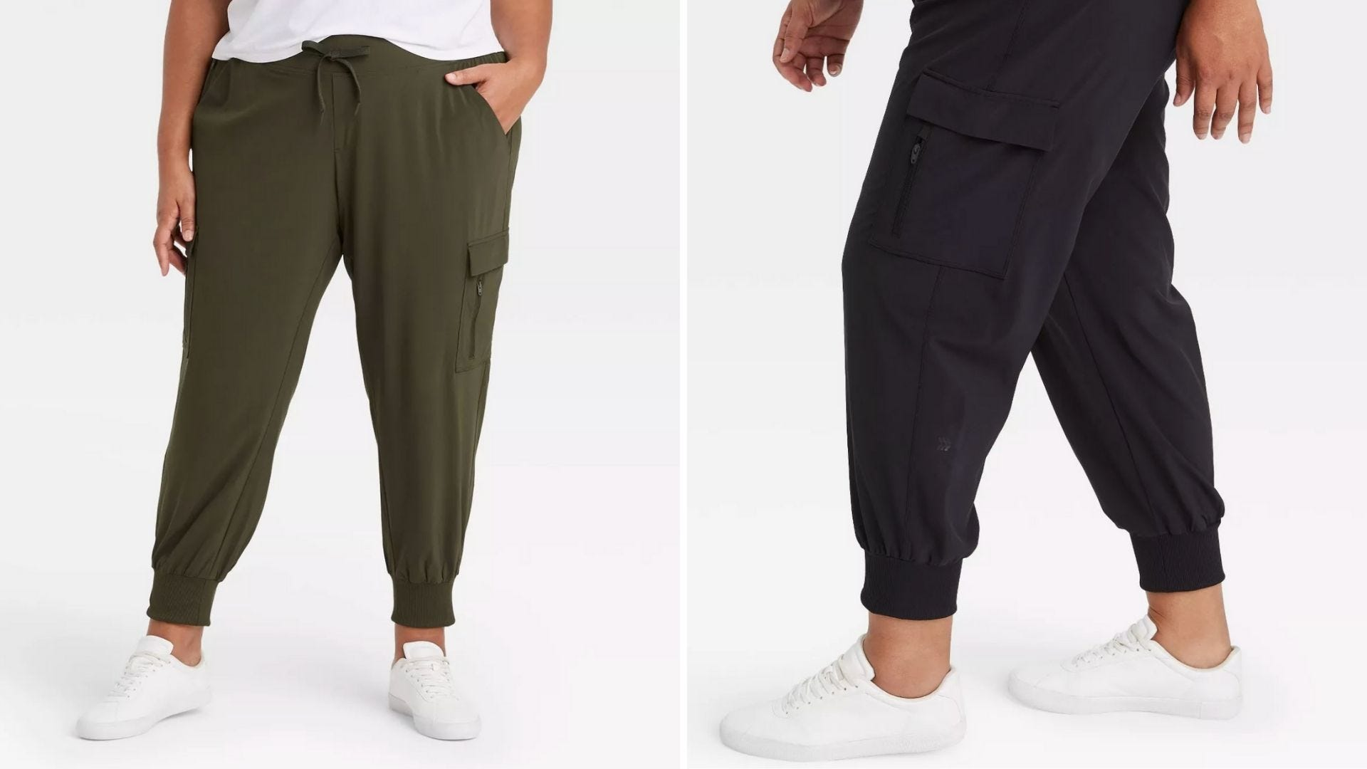 A woman wears olive green pants and a woman wears navy pants