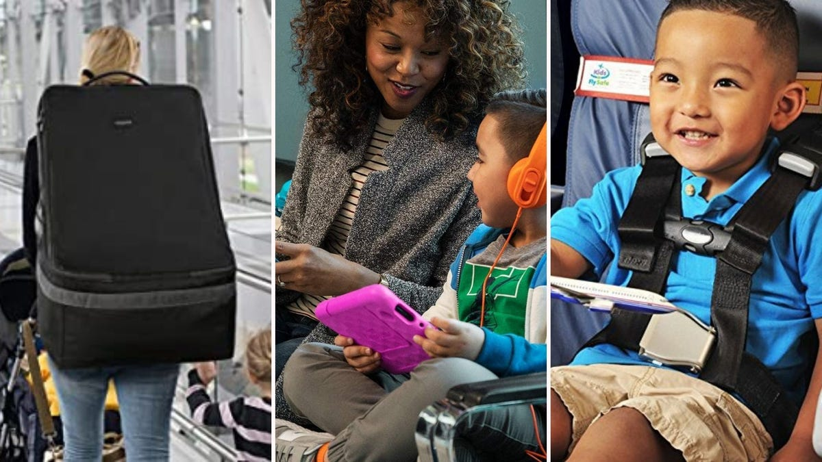 The YOREPEK car seat bag, the amazon Kids Fire Tablet, and the CARES safety harness.