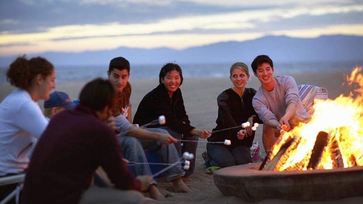 adult friends around a beach bonfire roasting marshmallows