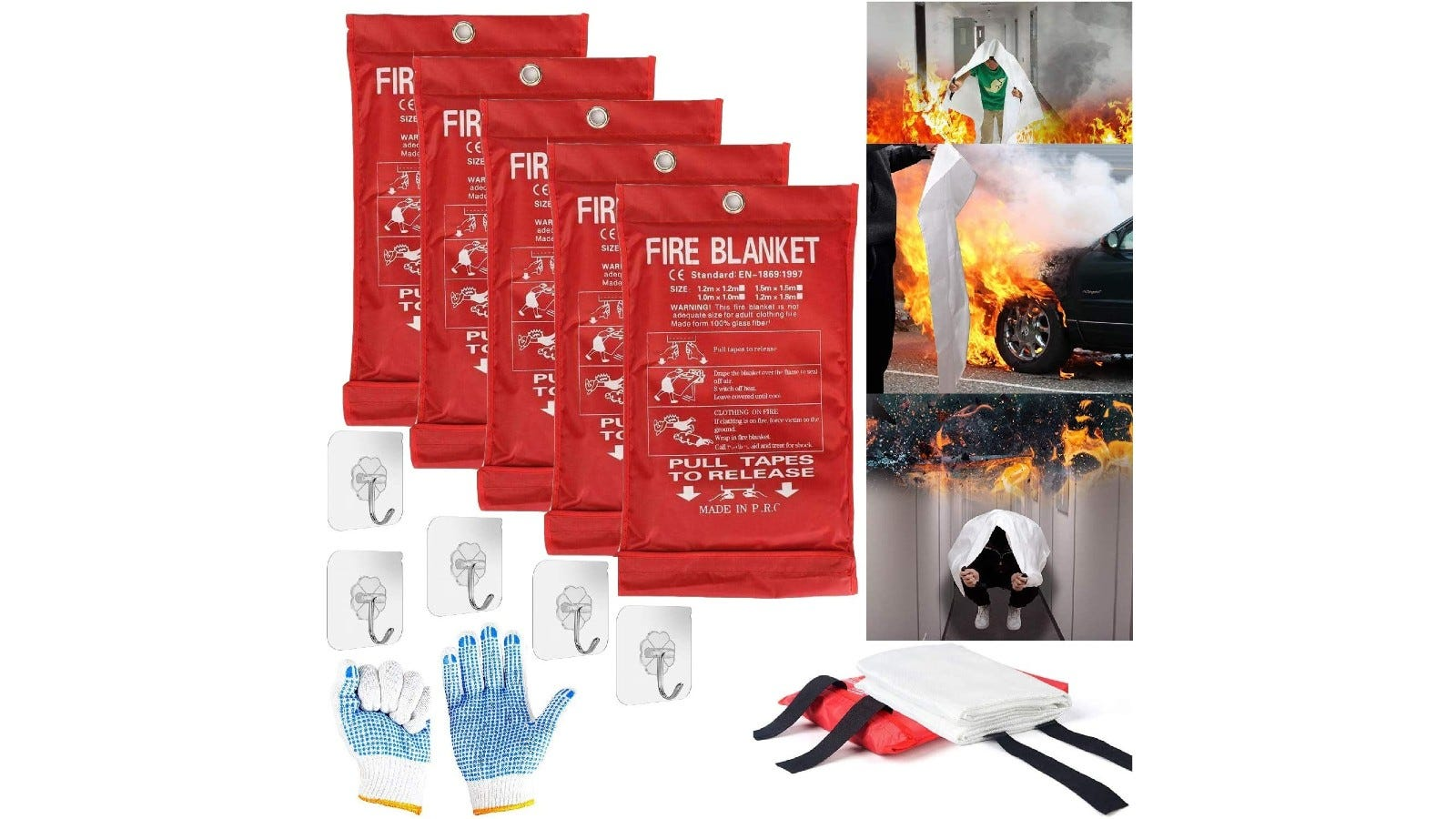 a set of five fire blankets with wall hooks and gloves