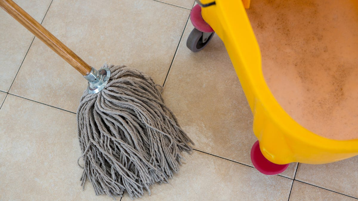 a mop head next to a mop bucket full of water and cleaning chemicals