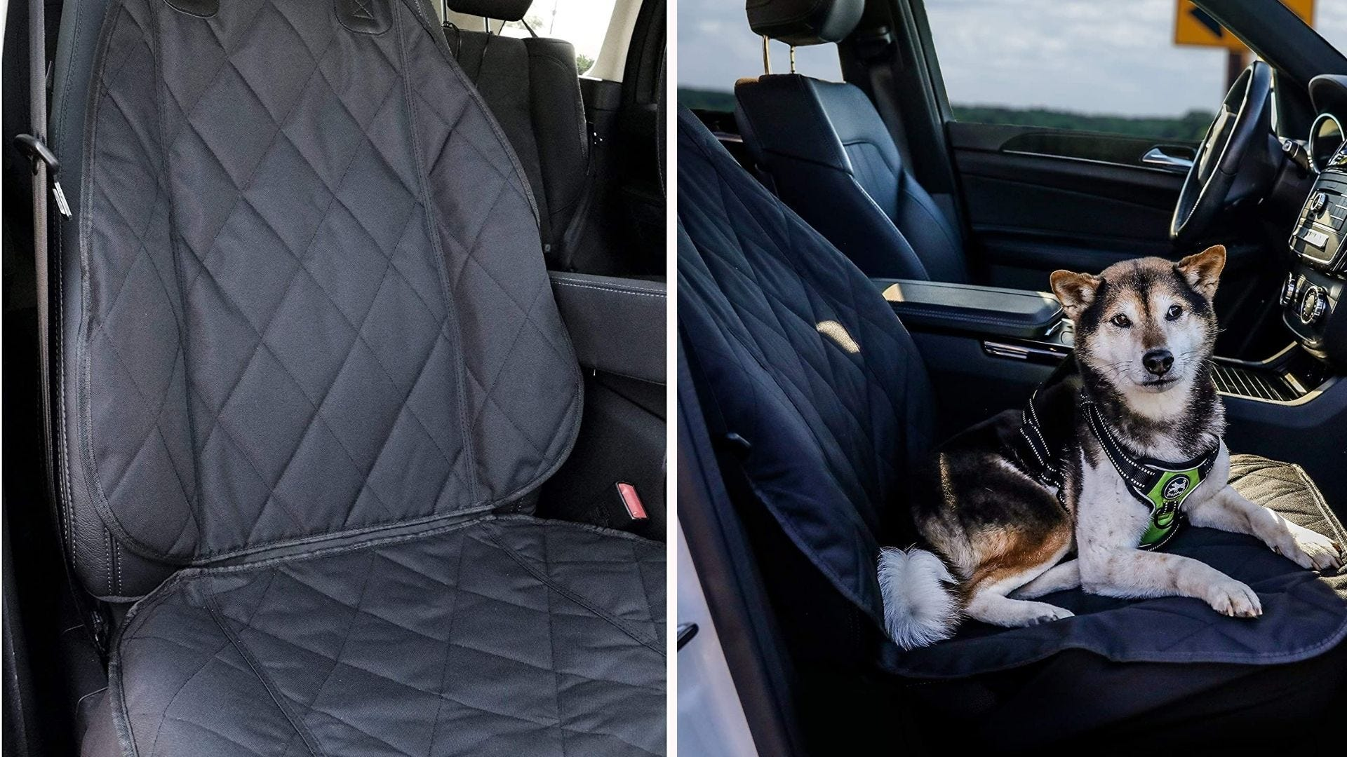 a car seat with a black quilted cover on it; a dog rests on top