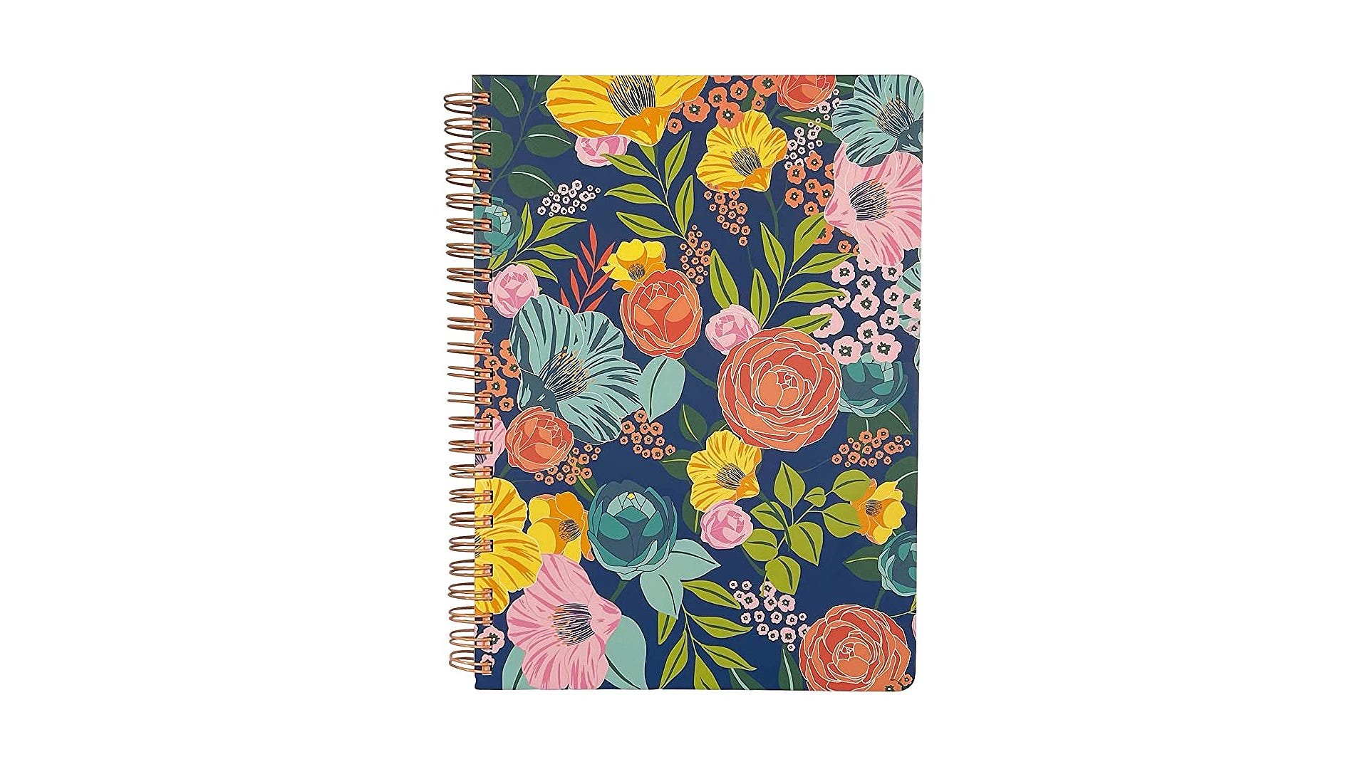 floral covered spiral bound notebook white background