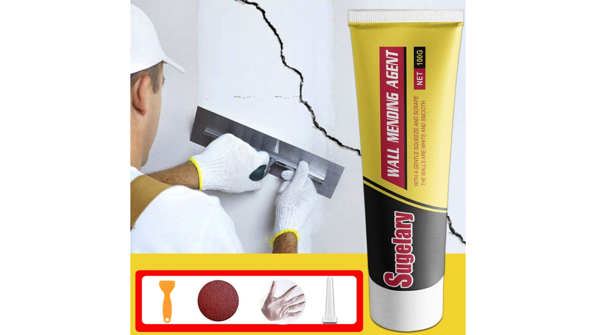 drywall repair tube with additional tools displayed and being used in background