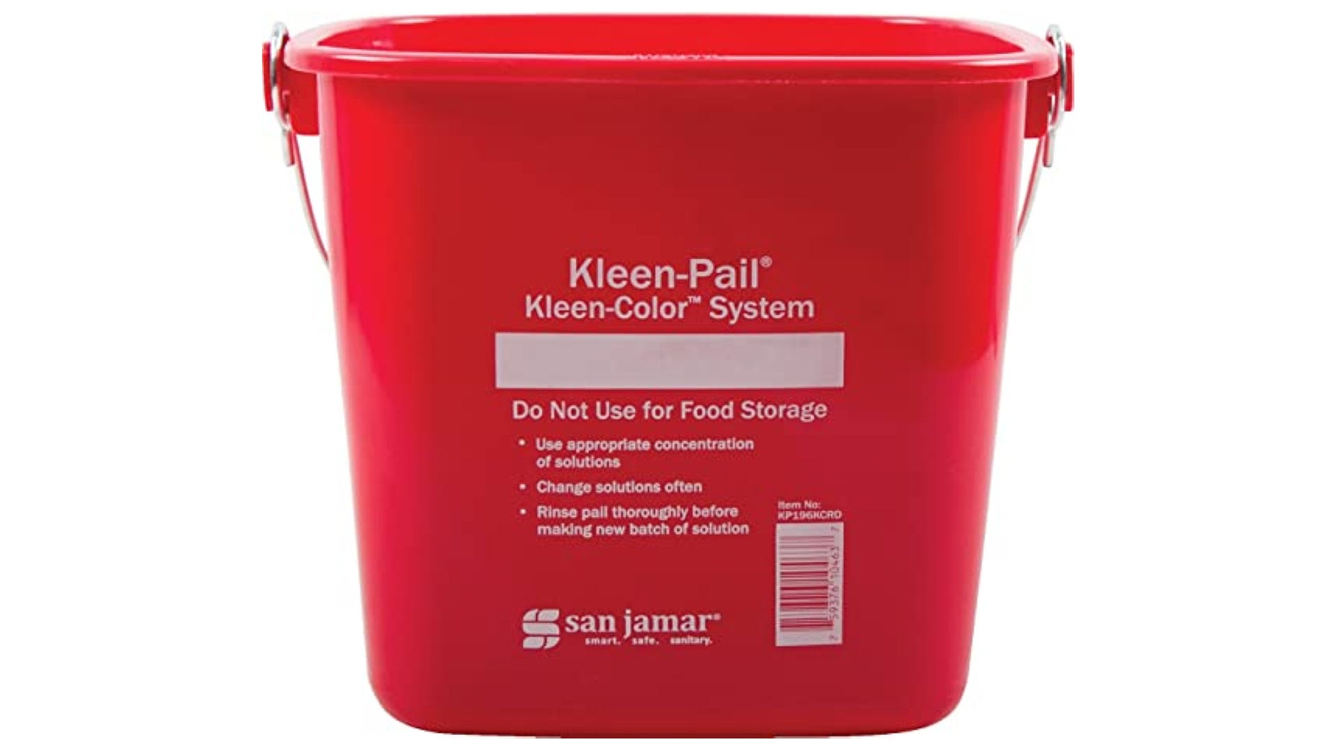 red mop bucket with clean lettering