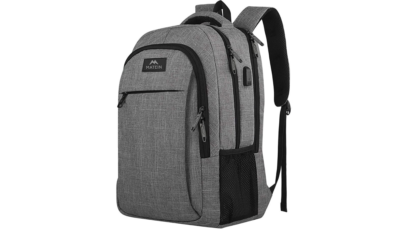 Silver-gray backpack shown at an angle