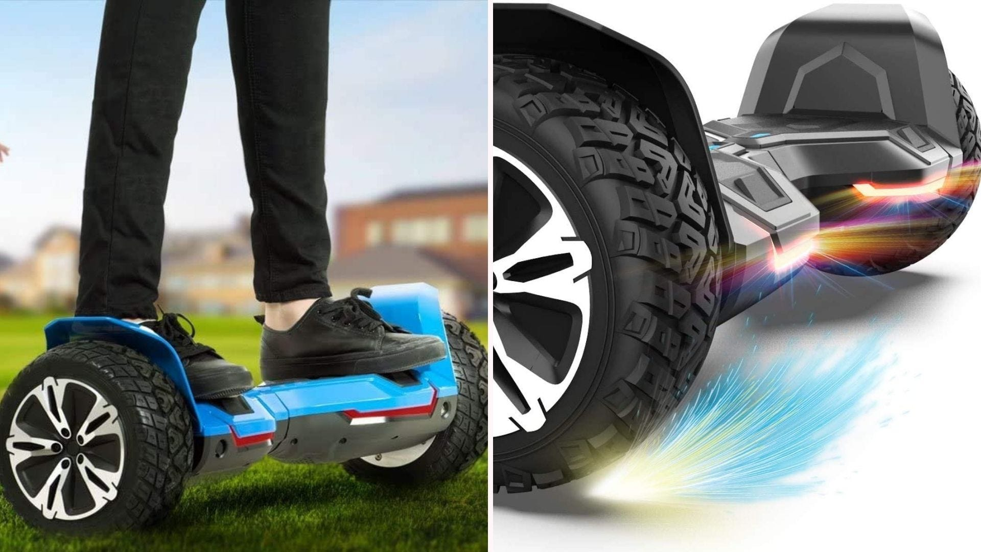 On the left, a rider stands on top of a black and blue hoverboard. On the right, a close up of the device's rigid frame.