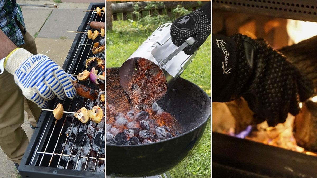 three scenarios of people grilling and using heat-resistant gloves