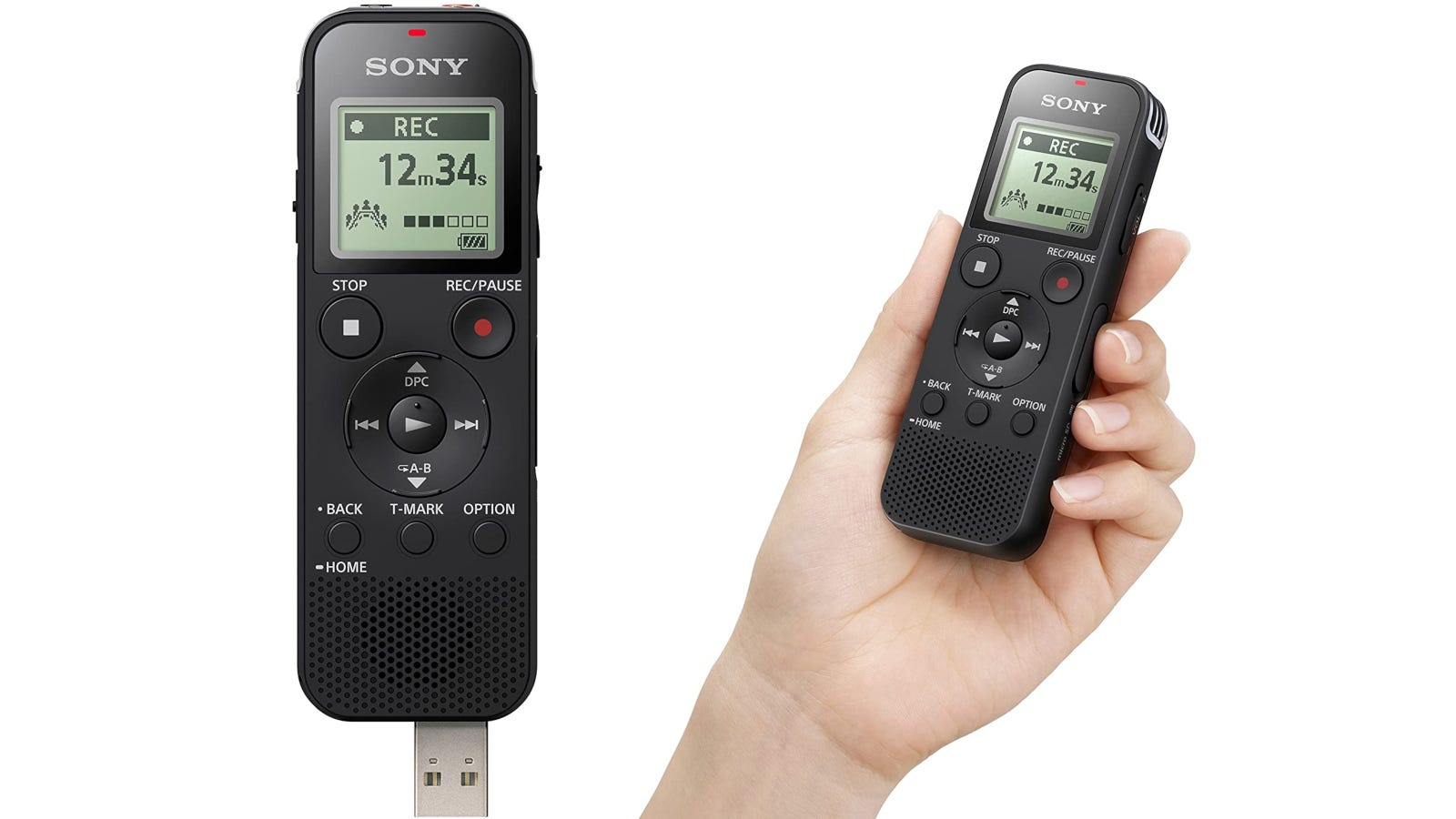 4GB black compact voice recorder with adjustable microphone range and expandable memory