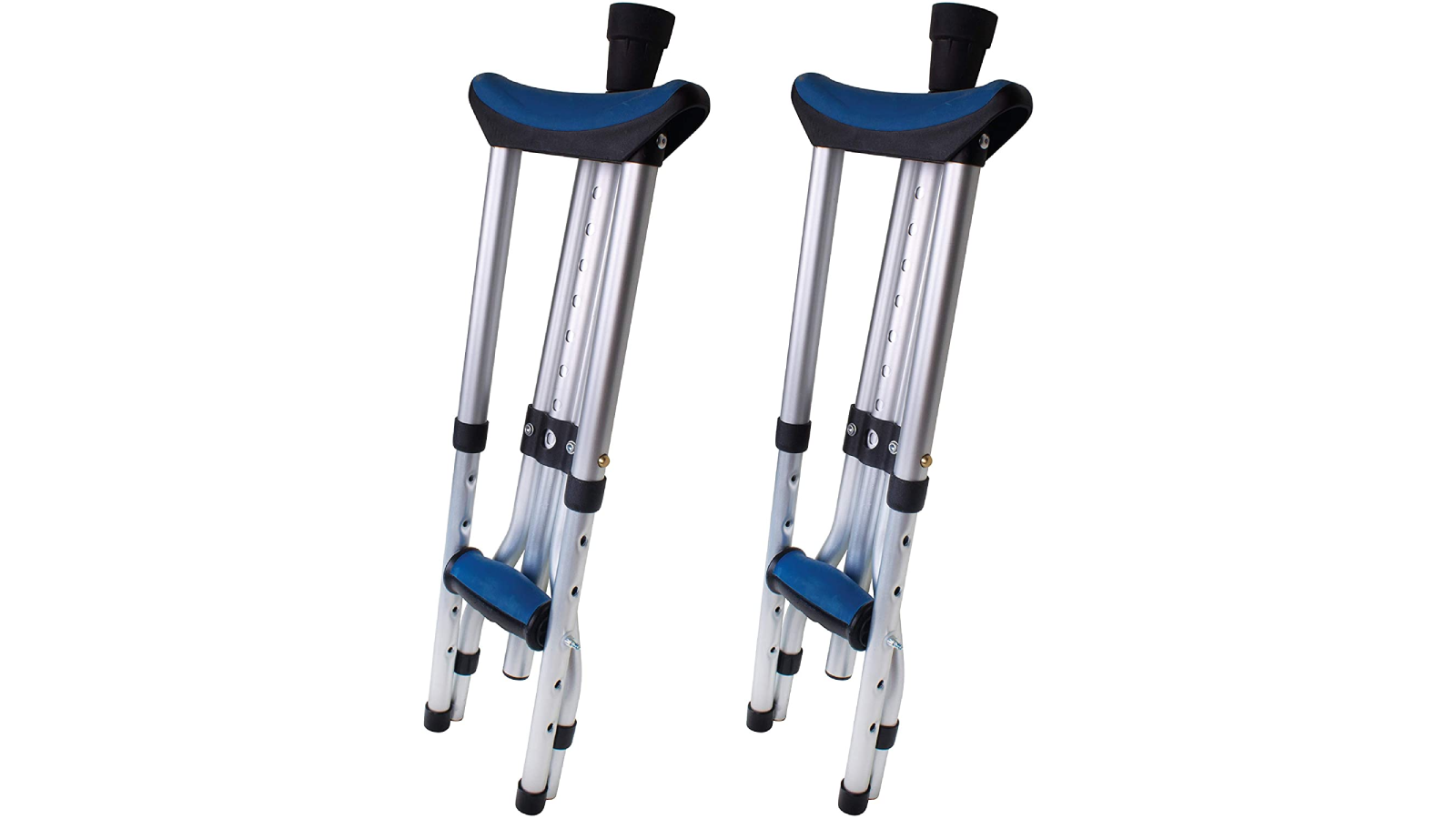 Folded up crutches with blue accents on the pads