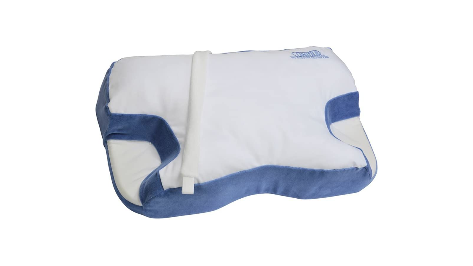 Bluish pillow with hose tether