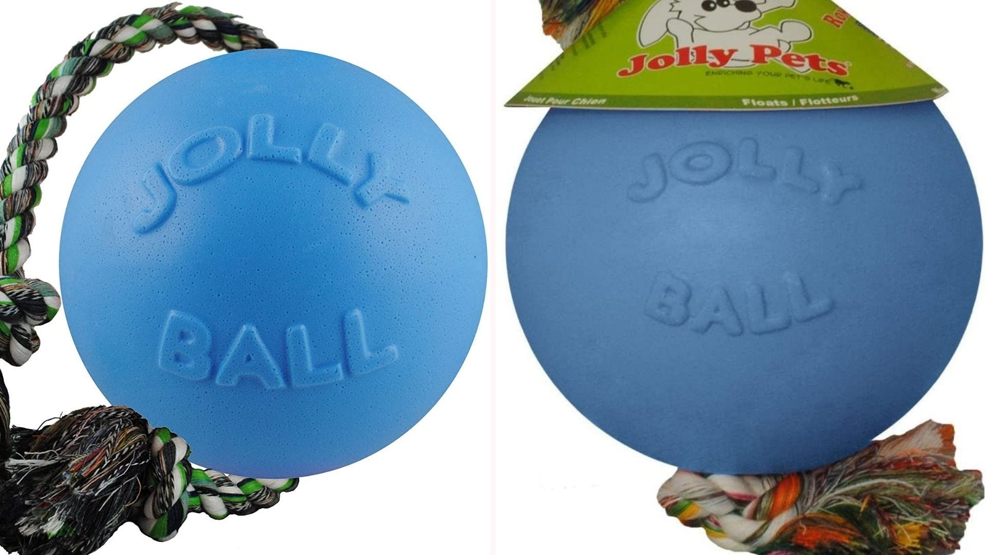 a blue Jolly Ball with rope attached to the top and bottom