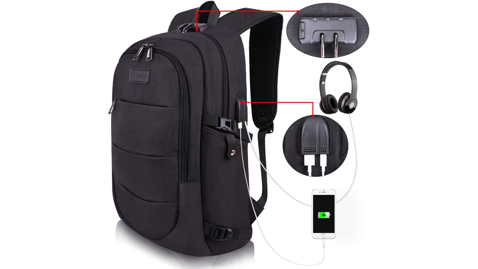 Gray backpack at an angle, small photos of headphones, iPhone, etc
