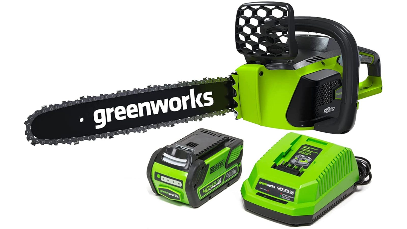 Green battery-powered chainsaw with 16-inch bar, 40V Li-Ion battery, charger, and chain brake