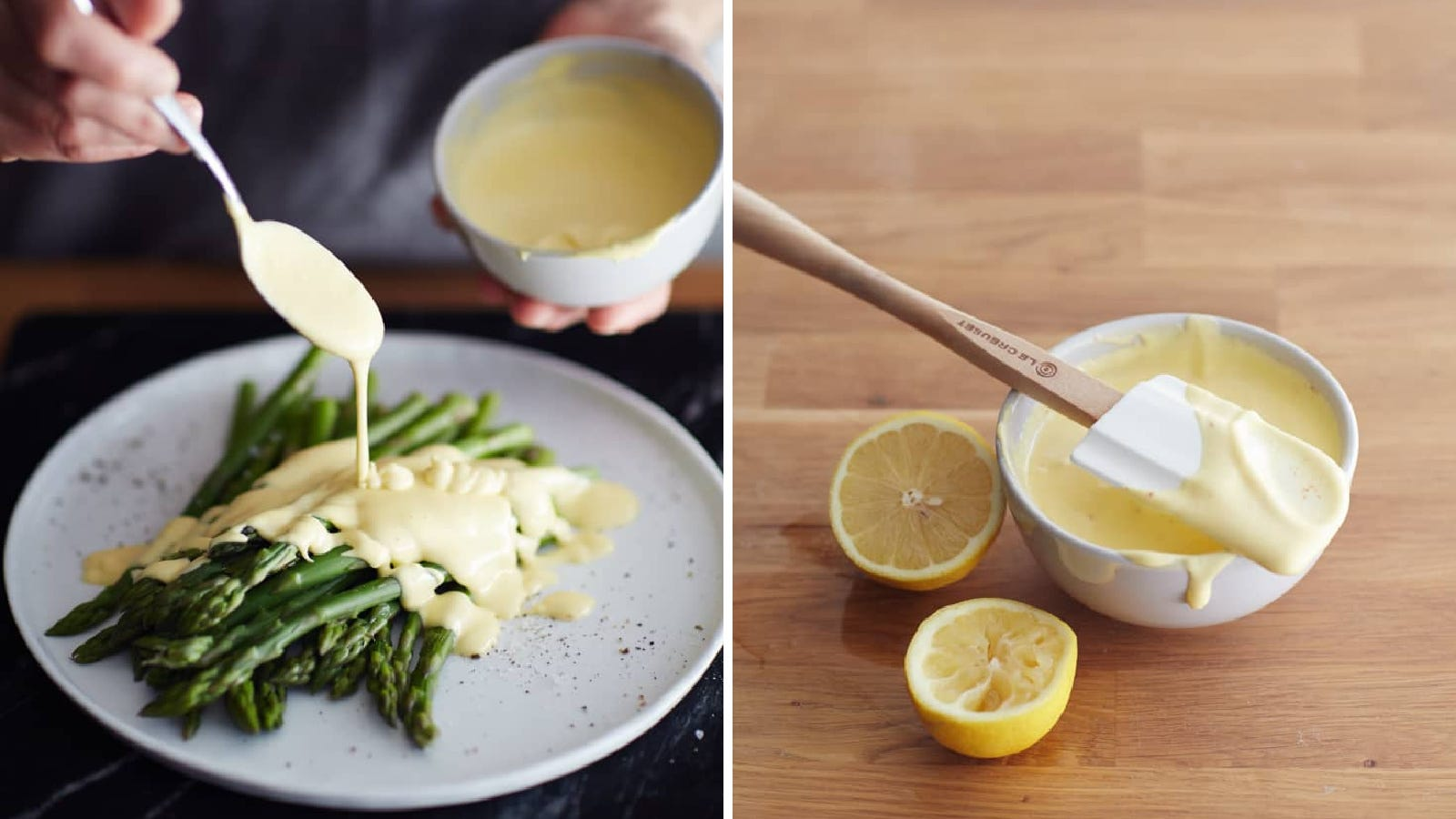 Two images of hollandaise sauce made by the blender method from The Kitchn, including sauce drizzled over asparagus, and another image of hollandaise sauce along side of a halved and squeezed lemon.