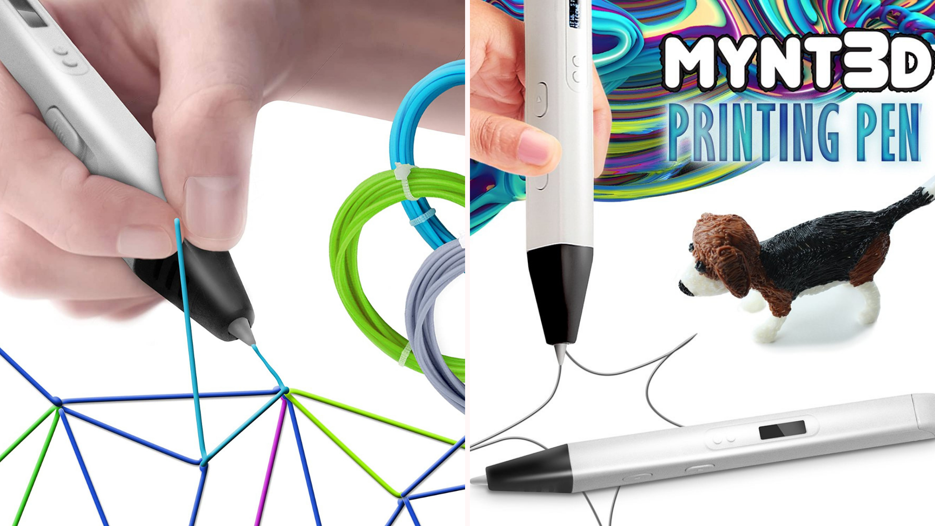 two examples of 3D printing elements drawn by a stylus
