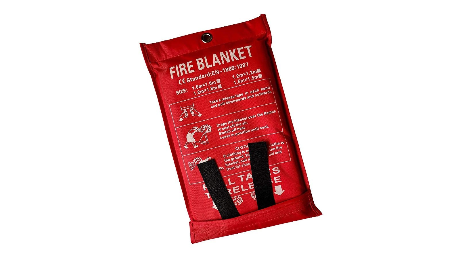 a fire blanket in red packaging