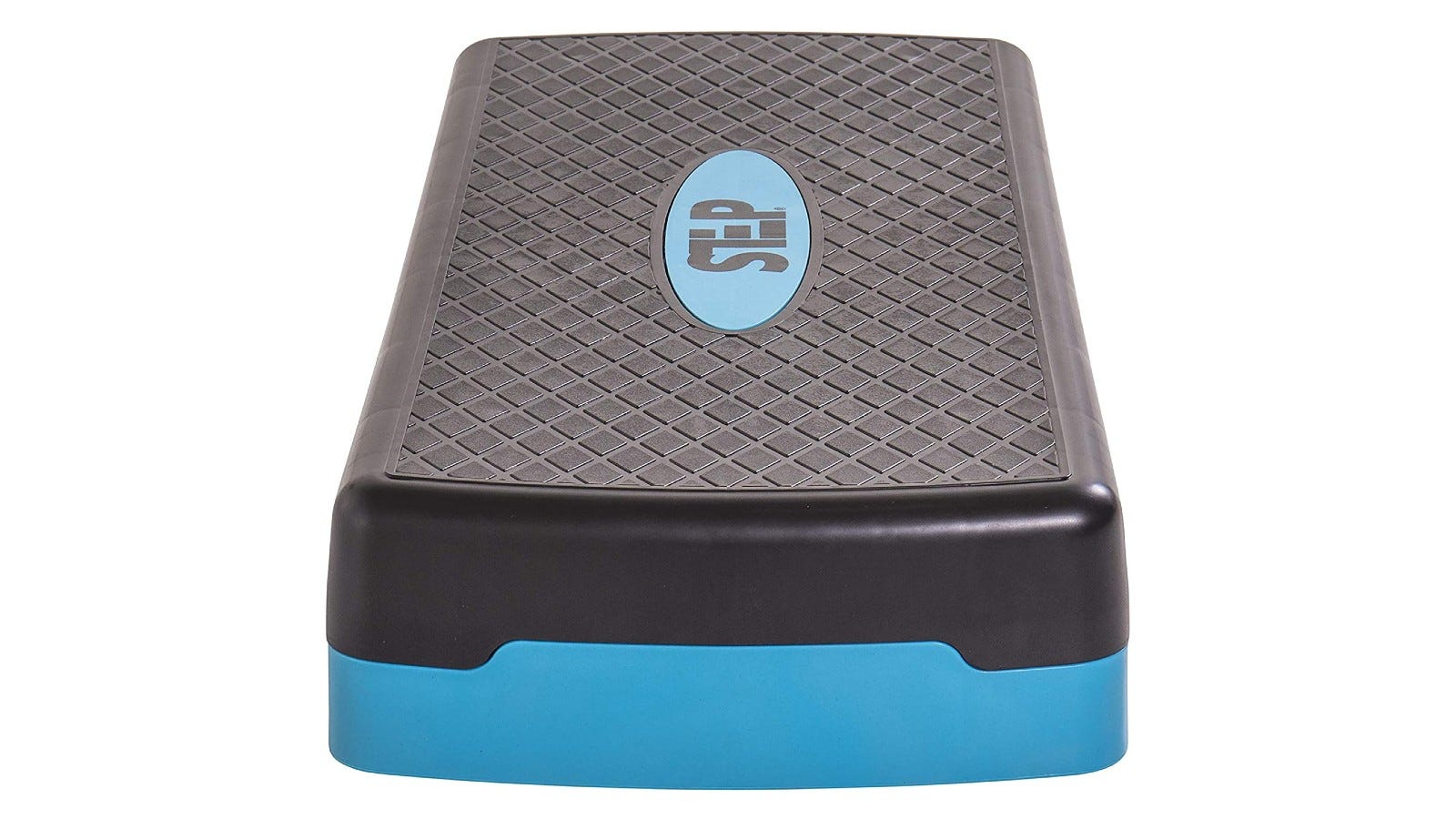 A side view of a black and blue step platform.