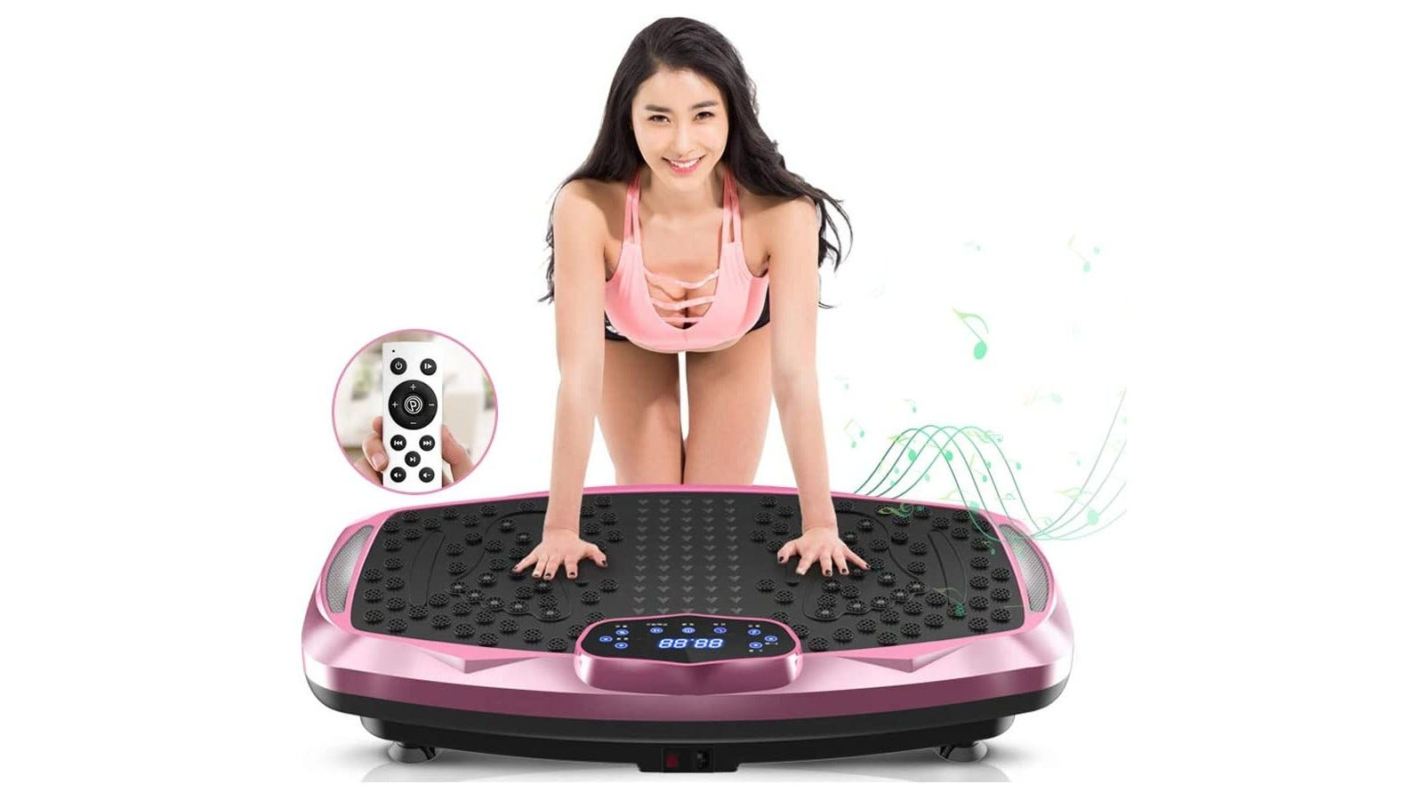 a woman resting her hands on a pink and black large vibration plate