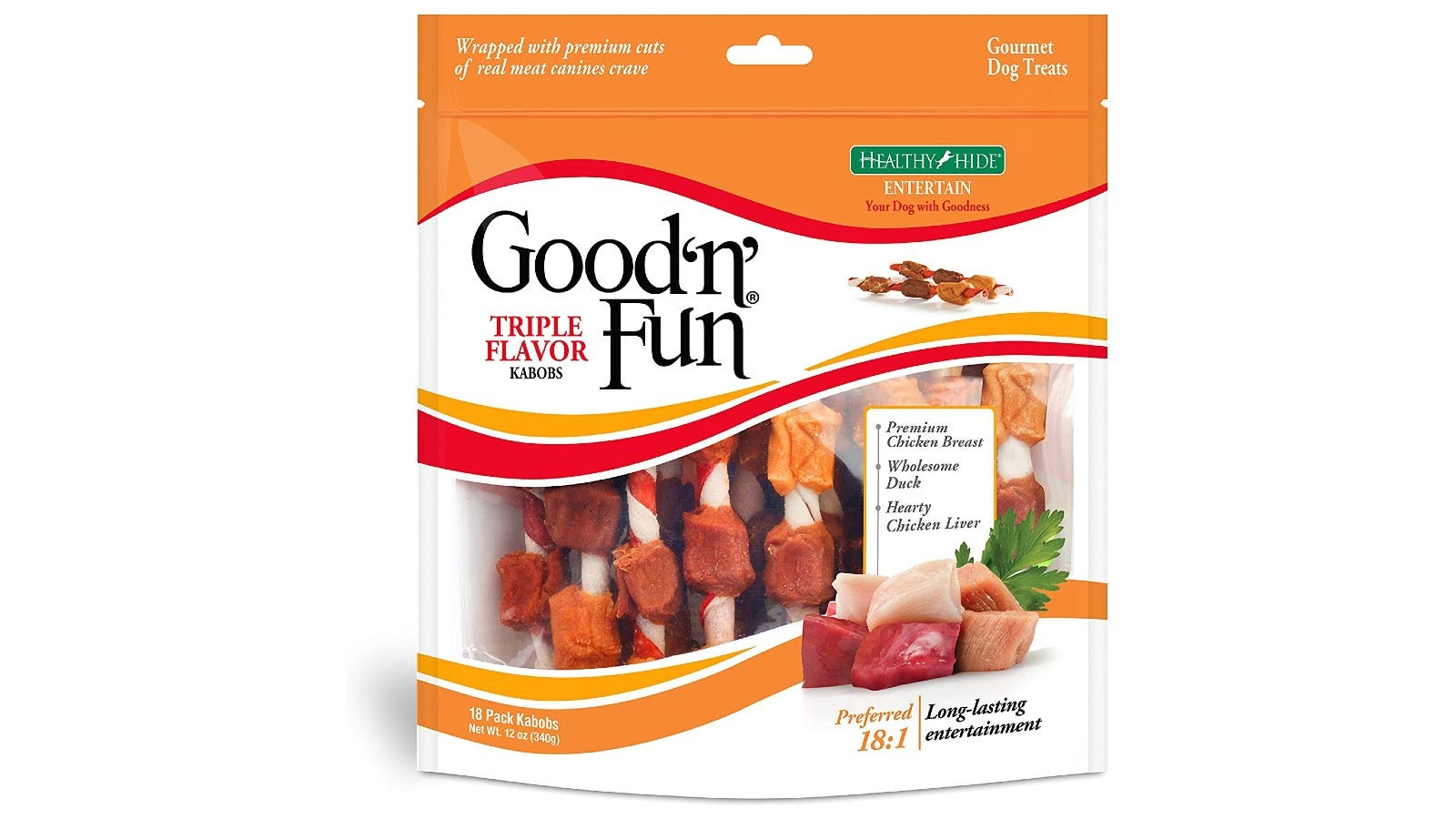 a package of Good'n'Fun dog treat kabobs