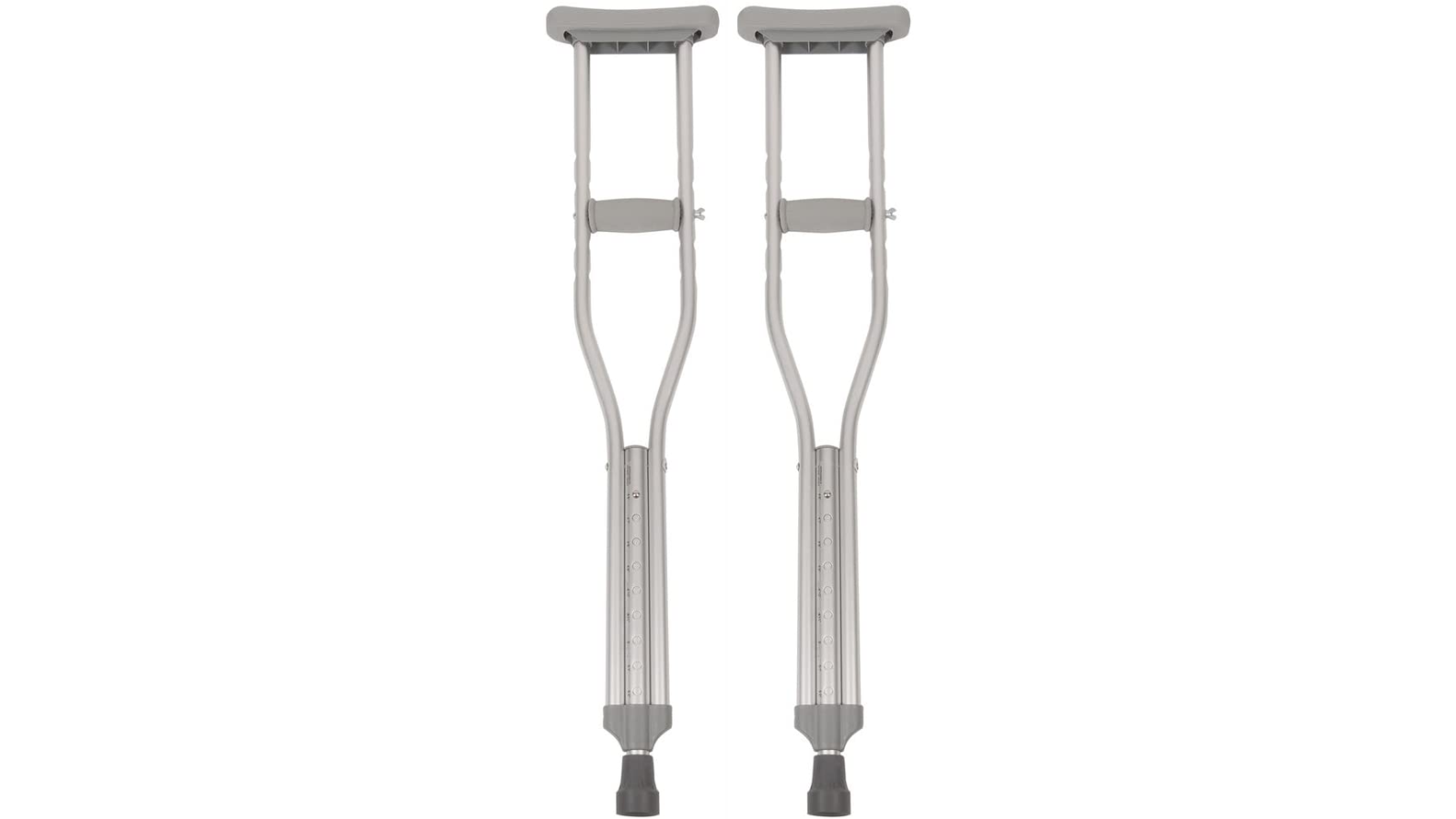 A pair of crutches show against a white background