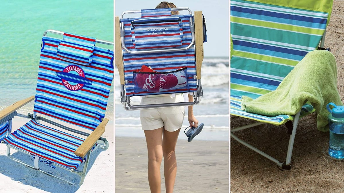 three striped beach chairs; two set up on the sand; one being carried like a backpack by a woman on the beach