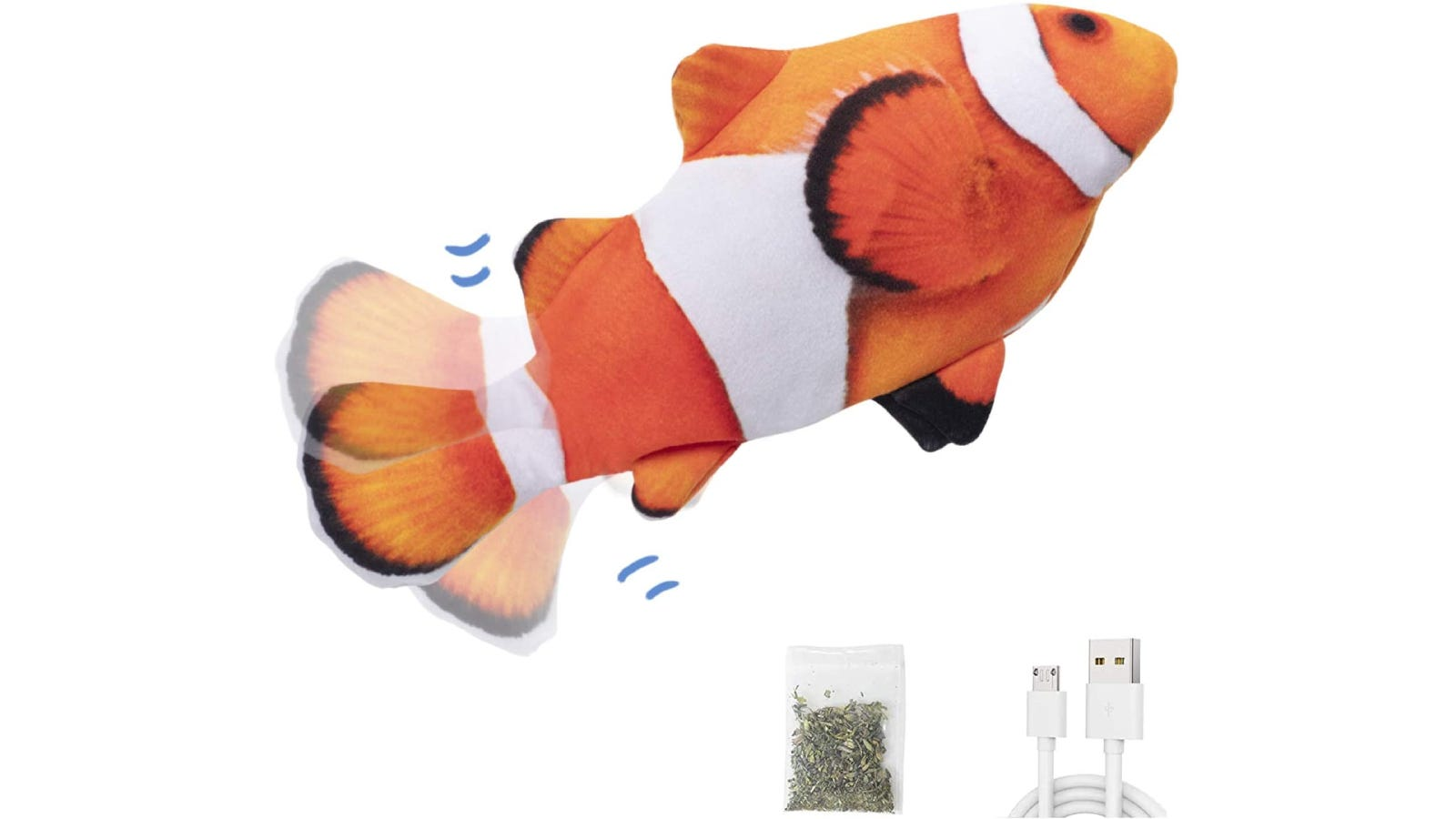 clownfish cat toy with charging cord and bag of catnip