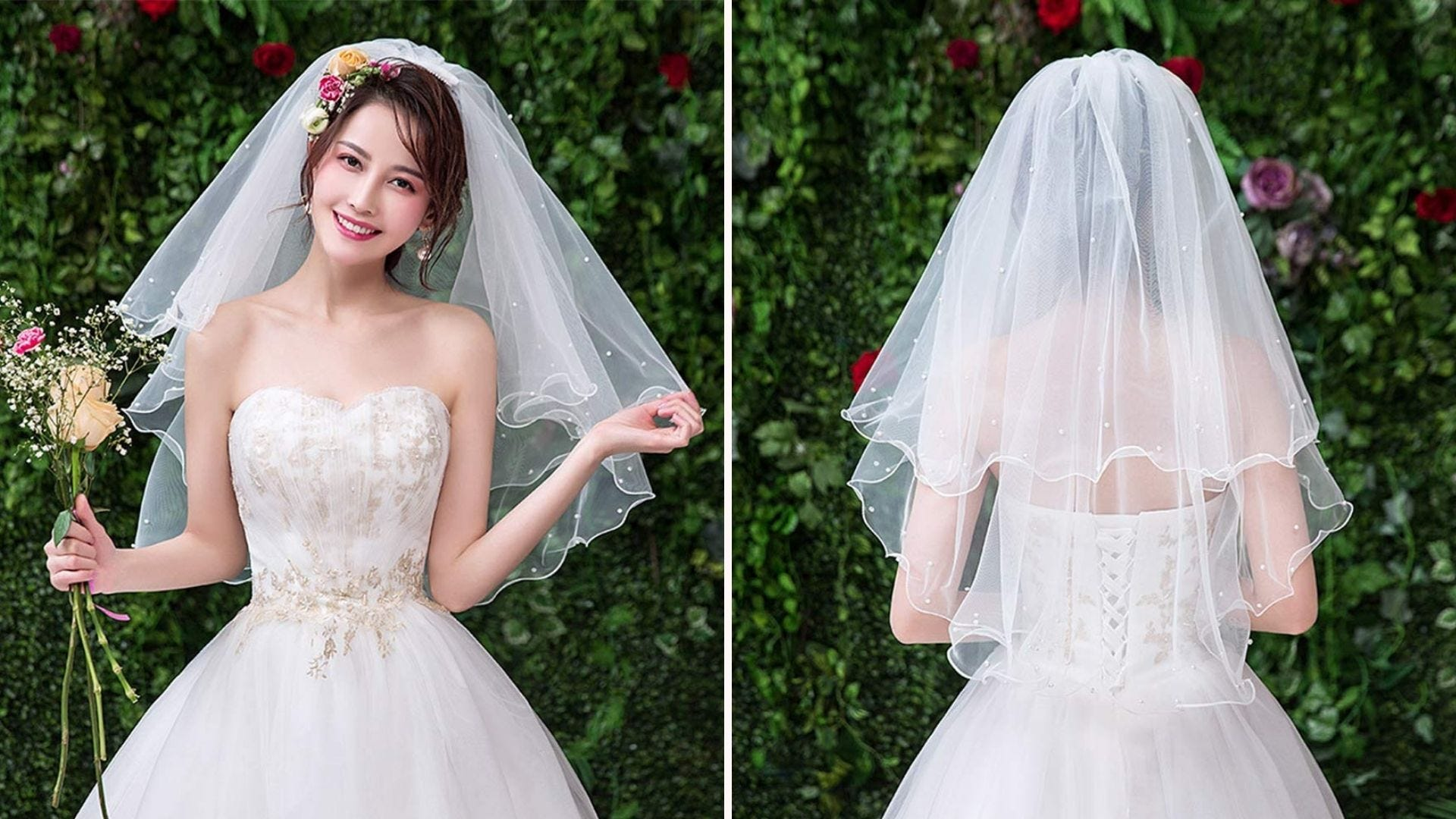 a bride in her gown and a three-tiered veil that goes to the waist