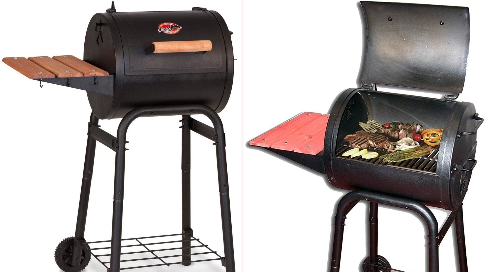 Char-Griller black charcoal grill with two wheels, two shelves, wooden handle, and cast iron cooking grates