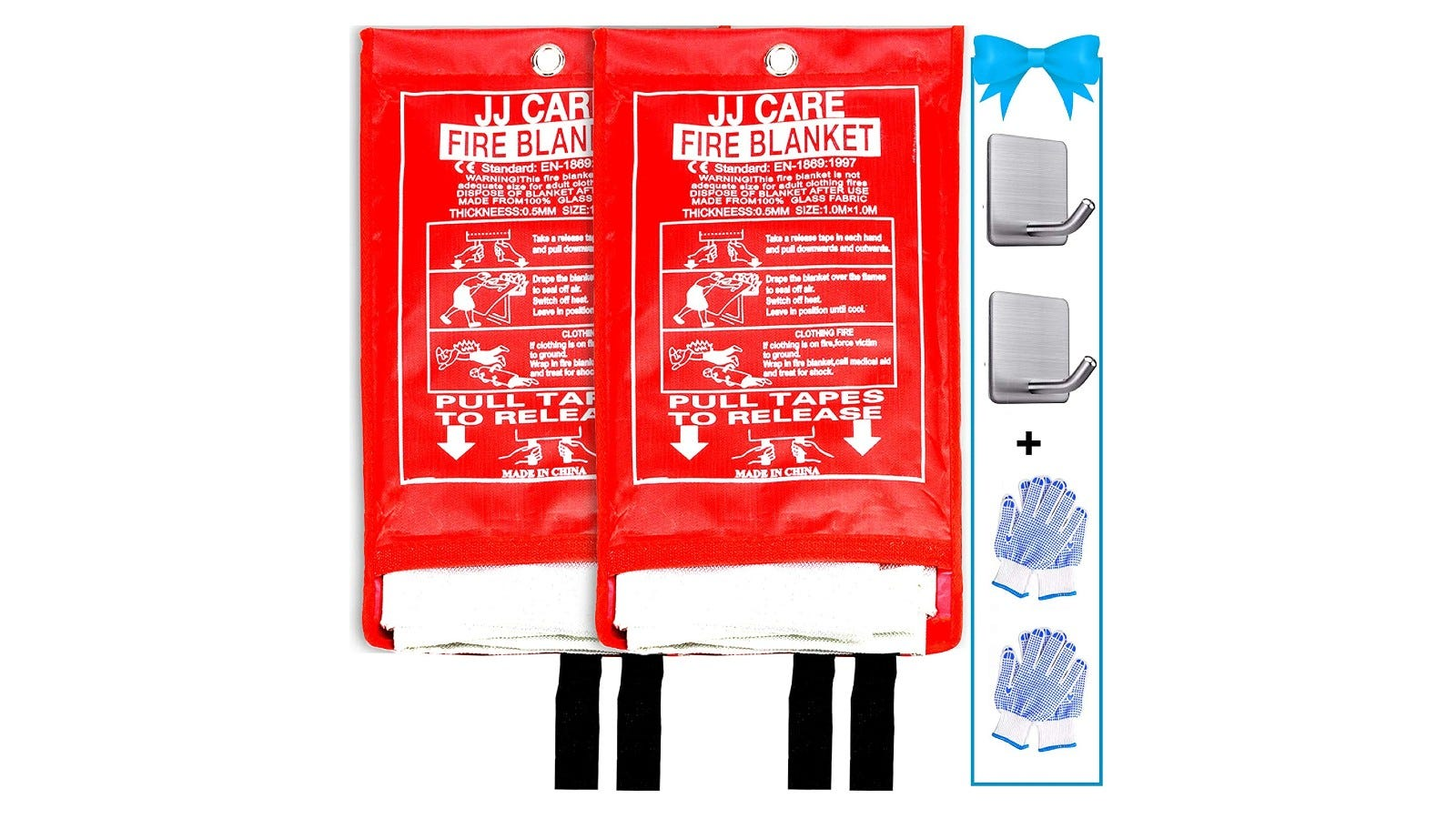 two fire blankets in red packaging with other accessories