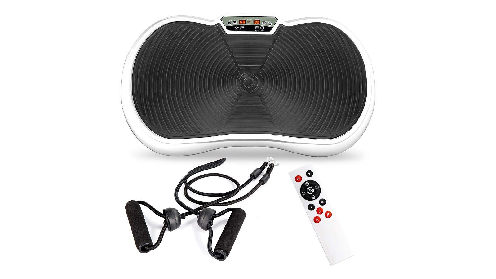 a black and white vibration plate with a remote control and resistance bands