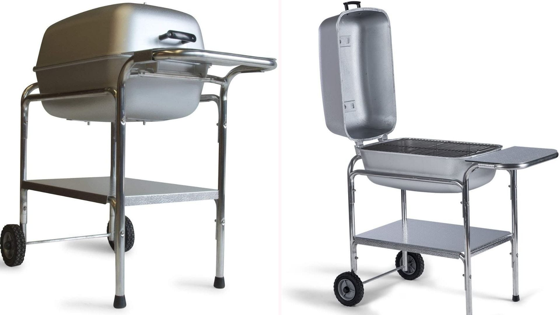 PK Grills cast aluminum charcoal grill and smoker with two wheels and 300 square inches of cooking surface